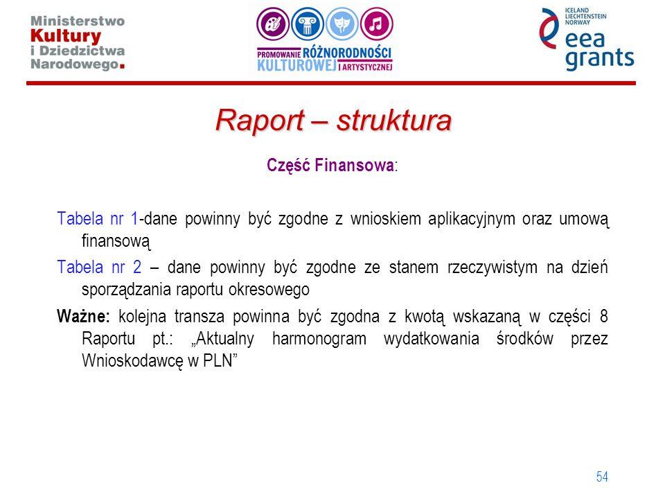 Raport – struktura Część Finansowa: