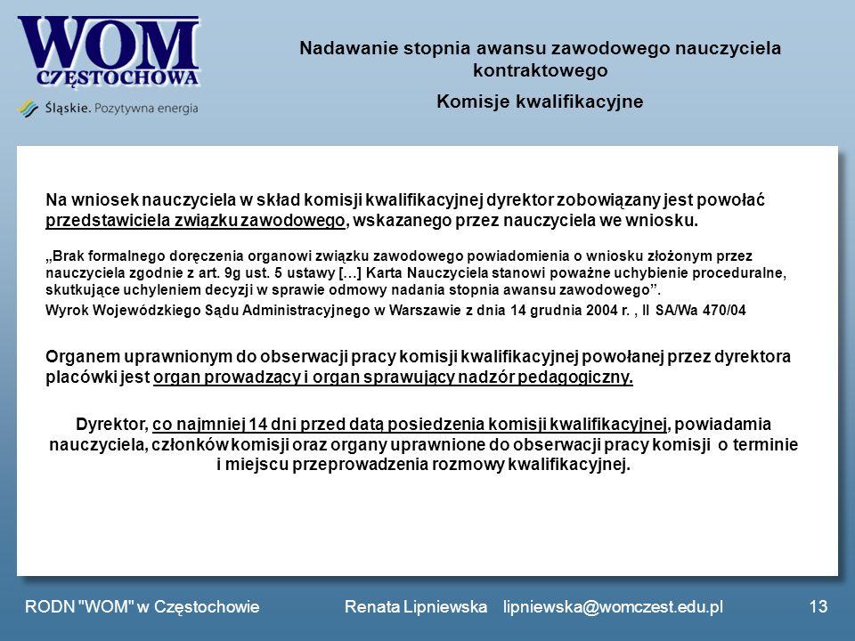 Nadawanie stopnia awansu zawodowego nauczyciela kontraktowego Komisje kwalifikacyjne