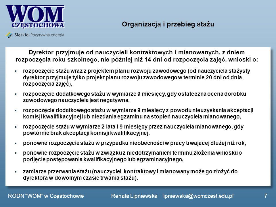 Organizacja i przebieg stażu