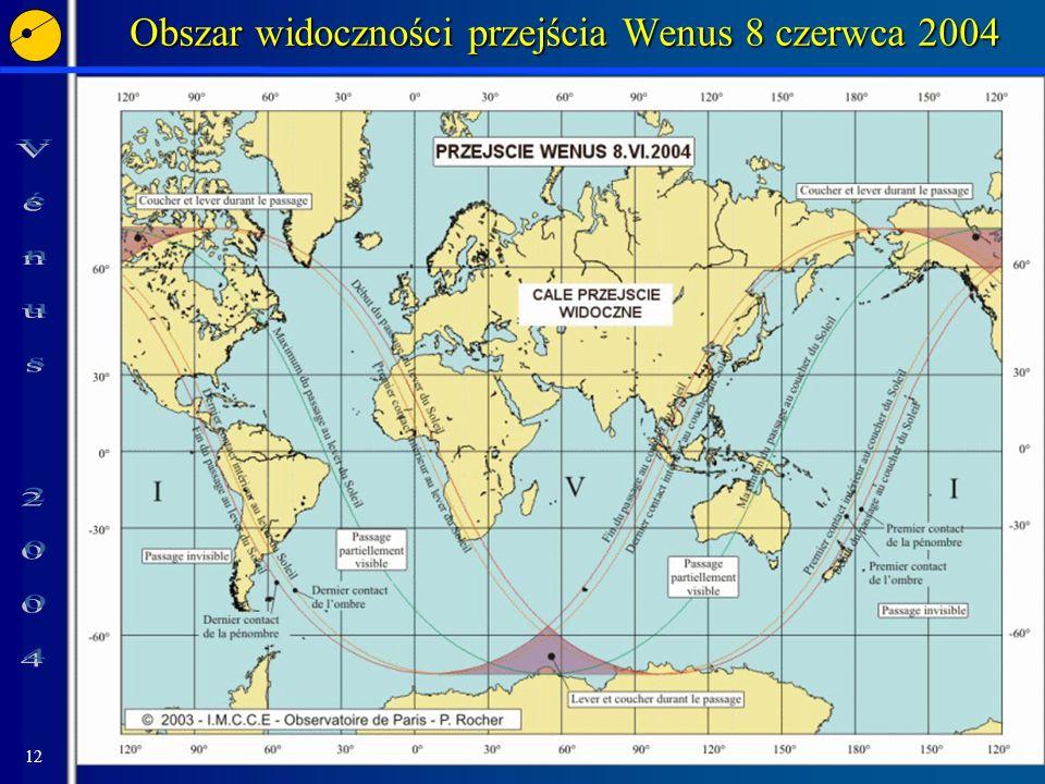 Obszar widoczności przejścia Wenus 8 czerwca 2004