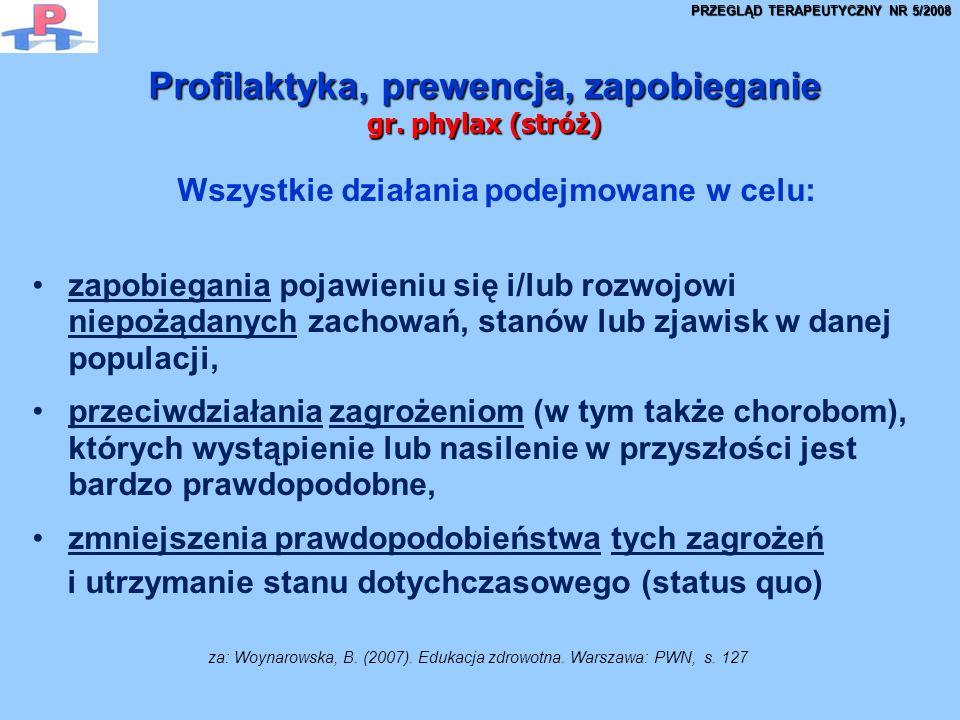 Profilaktyka, prewencja, zapobieganie gr. phylax (stróż)