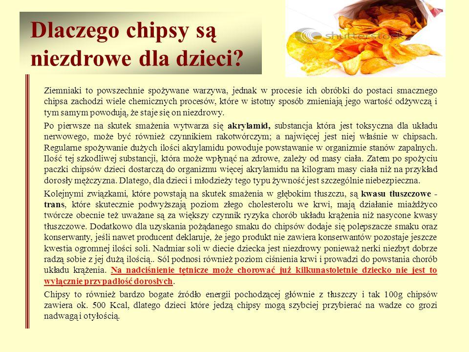 Dlaczego chipsy są niezdrowe dla dzieci