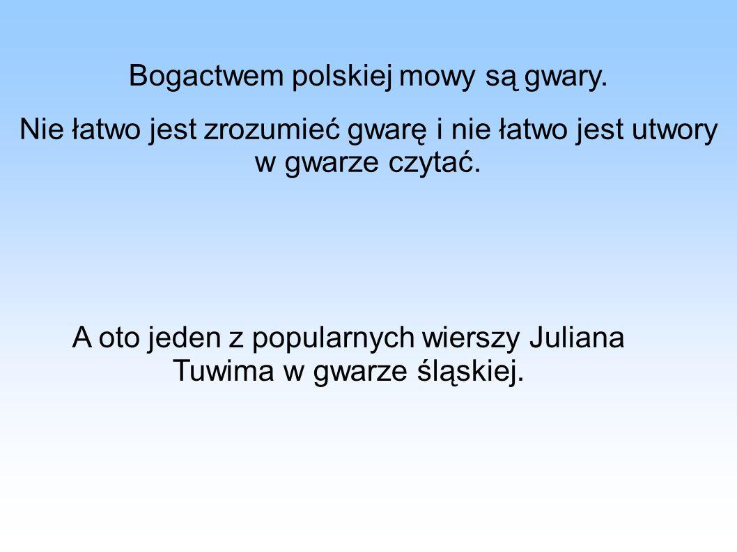 Bogactwem polskiej mowy są gwary.