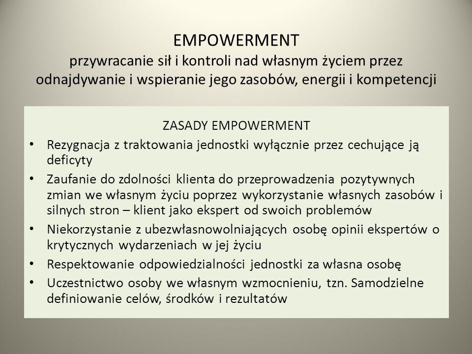 EMPOWERMENT przywracanie sił i kontroli nad własnym życiem przez odnajdywanie i wspieranie jego zasobów, energii i kompetencji