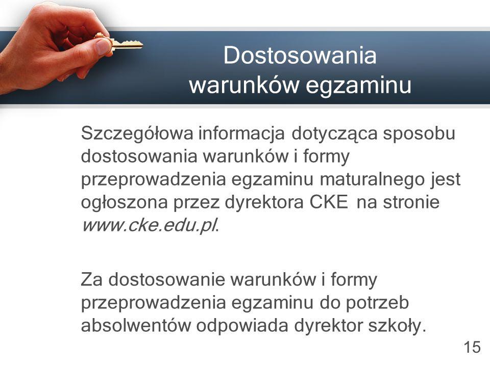 Dostosowania warunków egzaminu
