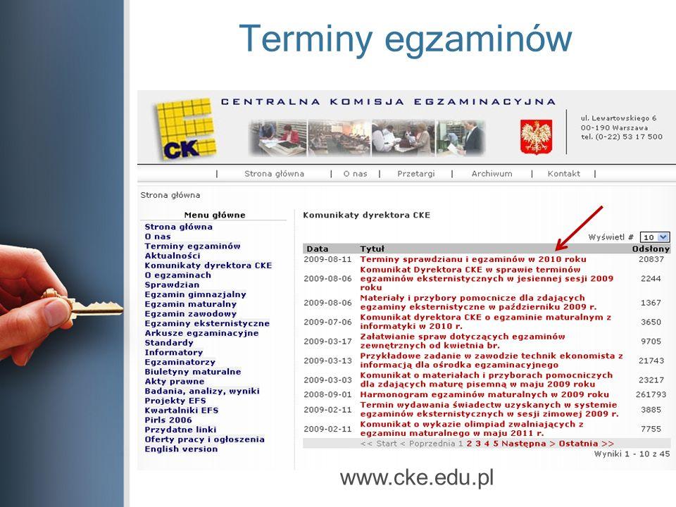 Terminy egzaminów www.cke.edu.pl