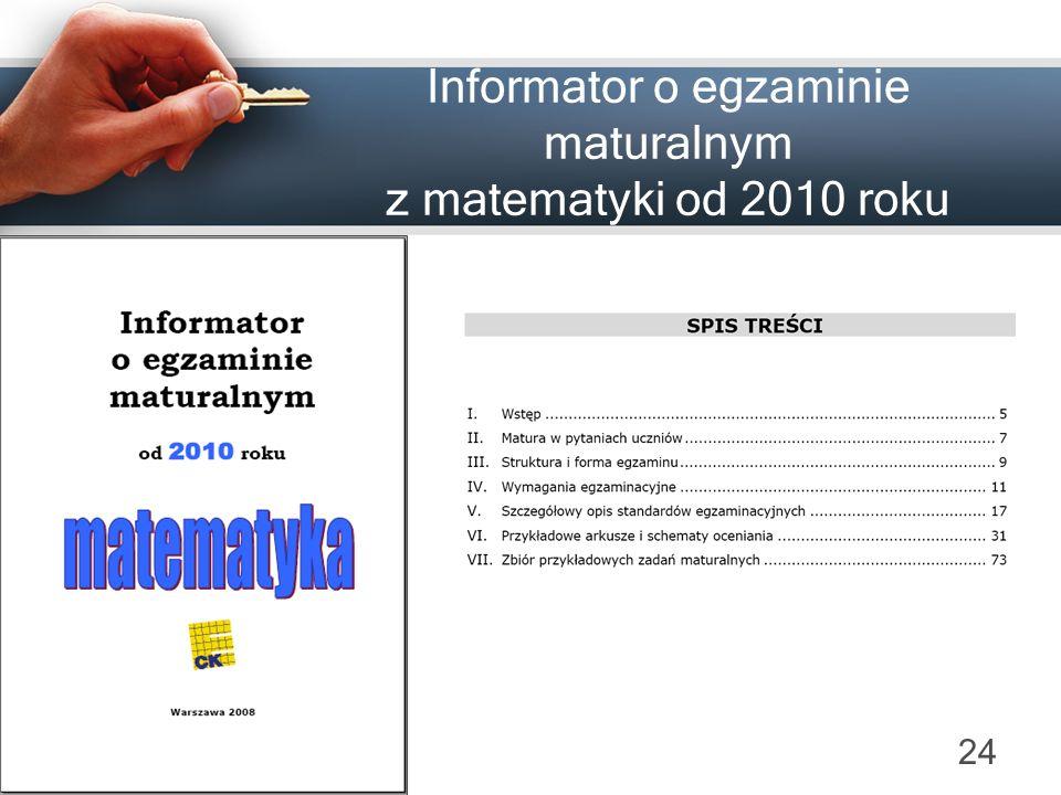 Informator o egzaminie maturalnym z matematyki od 2010 roku