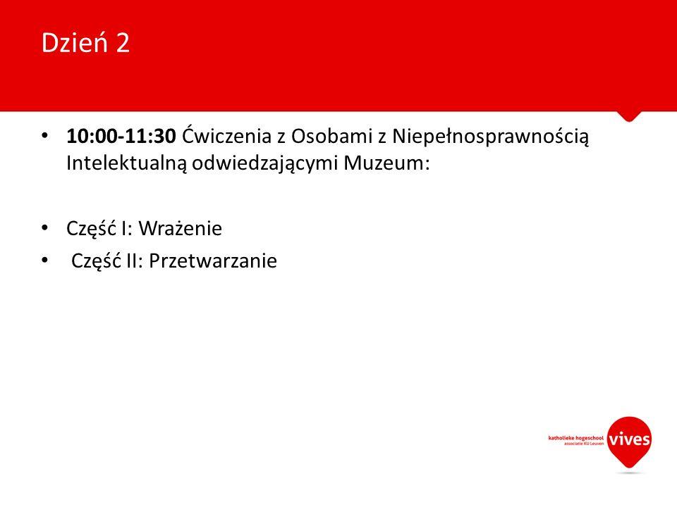 Dzień 2 10:00-11:30 Ćwiczenia z Osobami z Niepełnosprawnością Intelektualną odwiedzającymi Muzeum: Część I: Wrażenie.