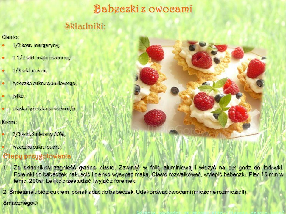 Babeczki z owocami Składniki: Etapy przygotowania Ciasto: Krem: