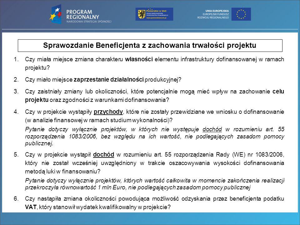 Sprawozdanie Beneficjenta z zachowania trwałości projektu