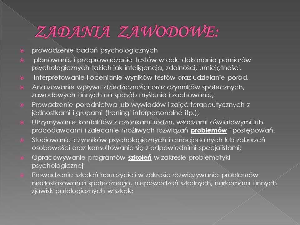ZADANIA ZAWODOWE: prowadzenie badań psychologicznych