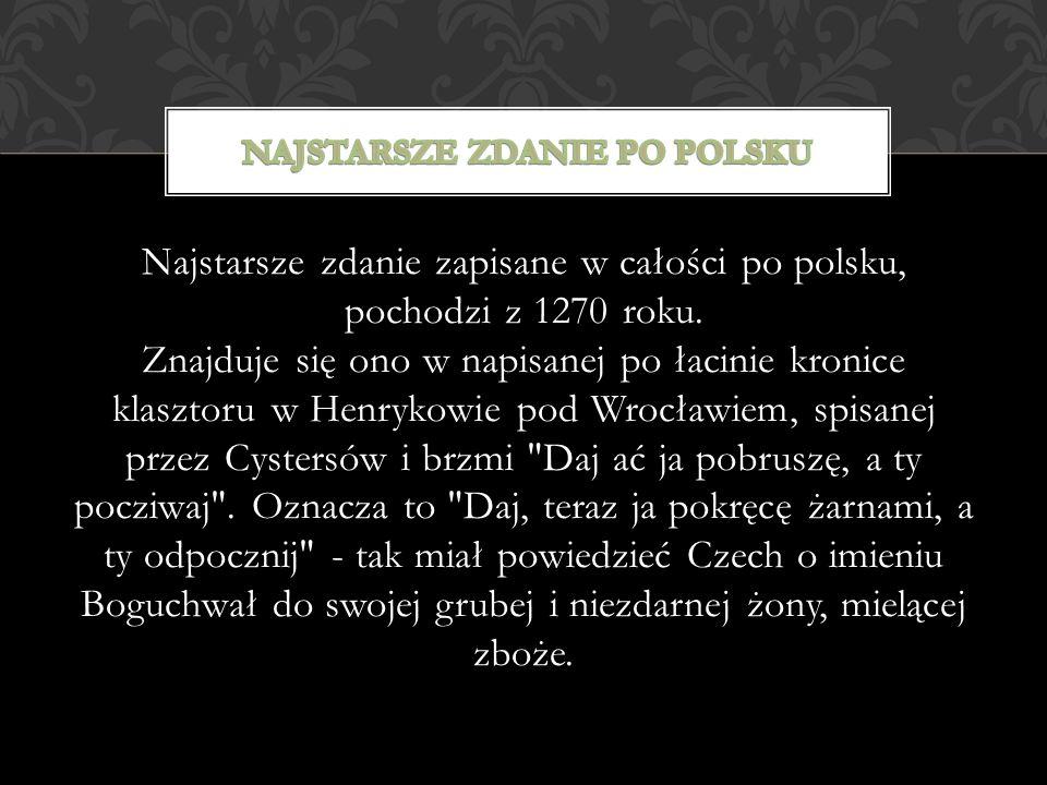 Najstarsze zdanie po polsku