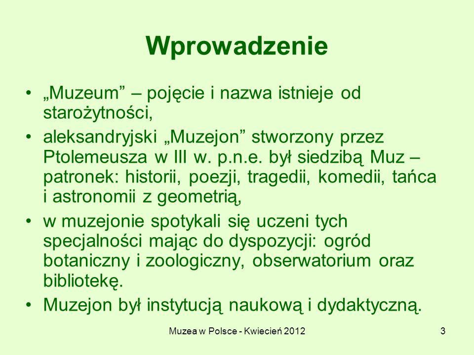 Muzea w Polsce - Kwiecień 2012