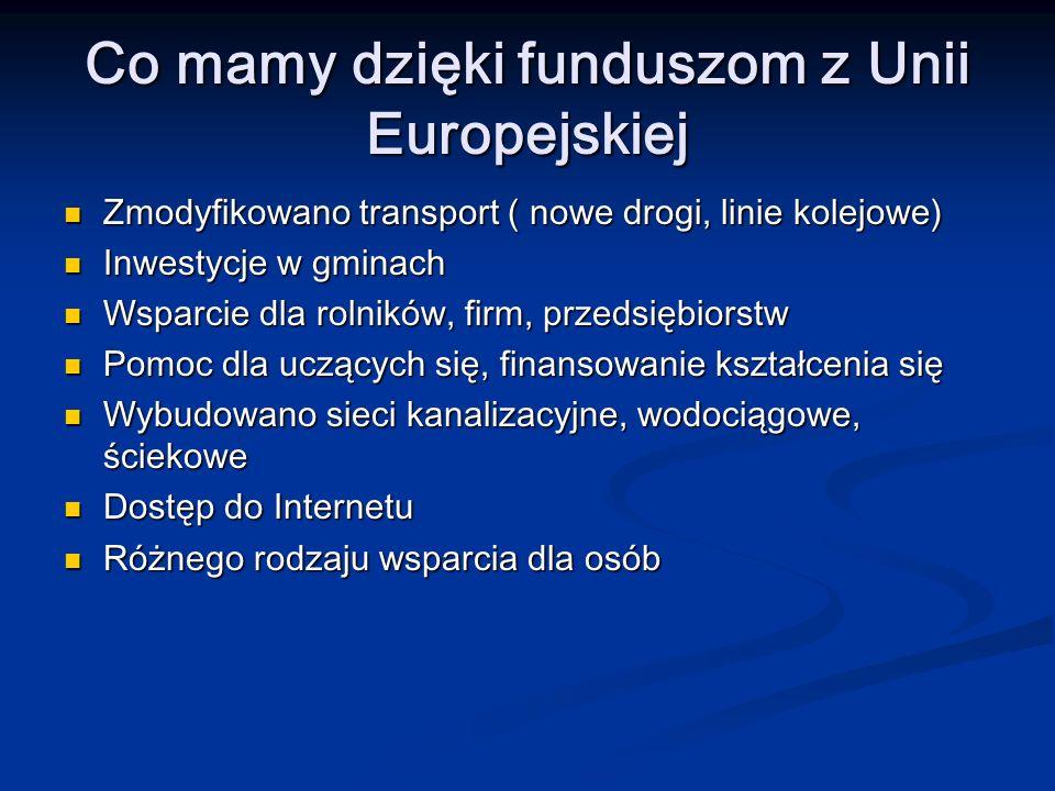 Co mamy dzięki funduszom z Unii Europejskiej