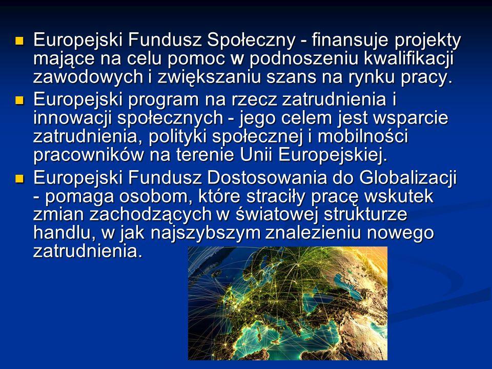 Europejski Fundusz Społeczny - finansuje projekty mające na celu pomoc w podnoszeniu kwalifikacji zawodowych i zwiększaniu szans na rynku pracy.