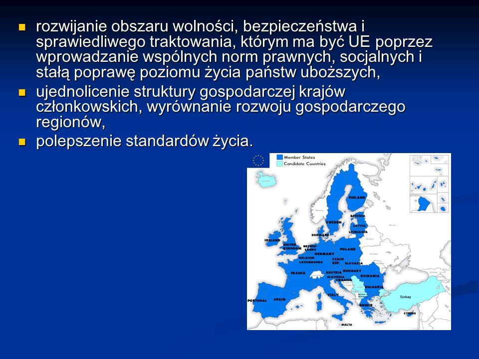 rozwijanie obszaru wolności, bezpieczeństwa i sprawiedliwego traktowania, którym ma być UE poprzez wprowadzanie wspólnych norm prawnych, socjalnych i stałą poprawę poziomu życia państw uboższych,