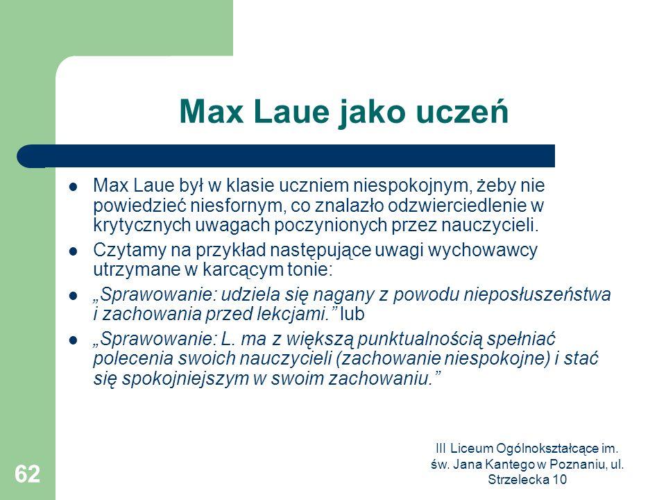 Max Laue jako uczeń
