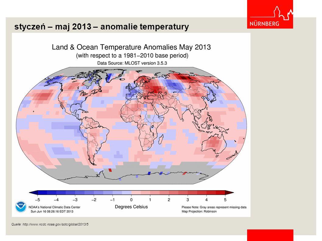 styczeń – maj 2013 – anomalie temperatury