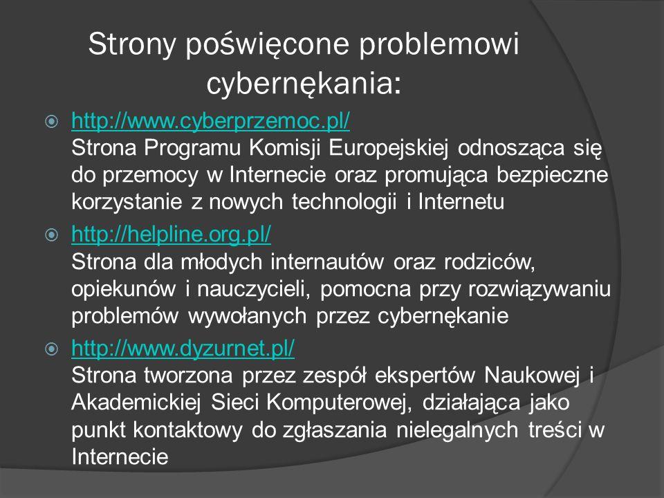 Strony poświęcone problemowi cybernękania: