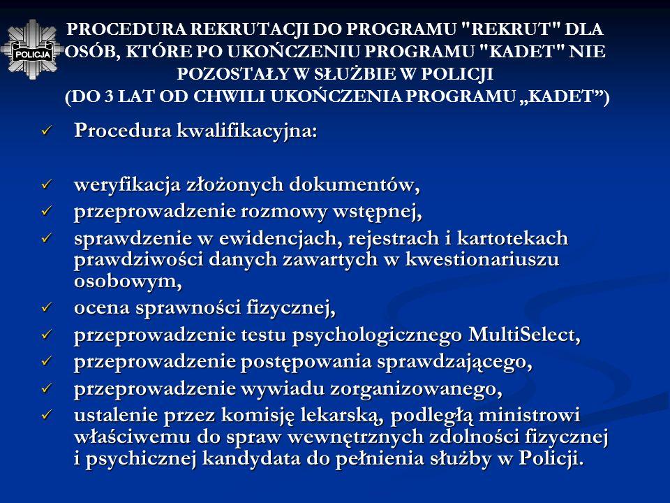 Procedura kwalifikacyjna: weryfikacja złożonych dokumentów,