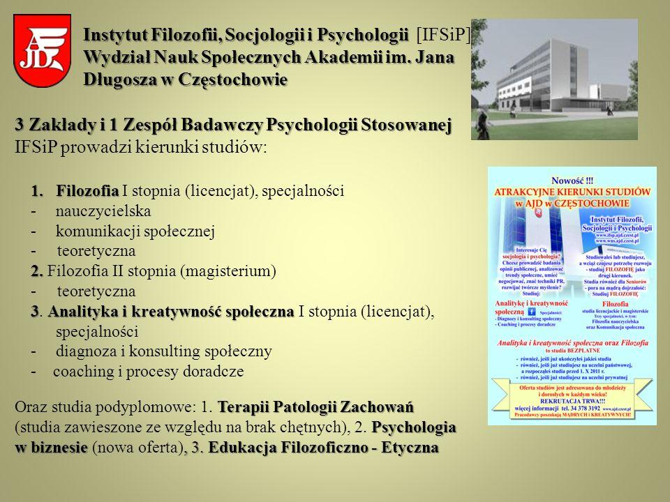 3 Zakłady i 1 Zespół Badawczy Psychologii Stosowanej