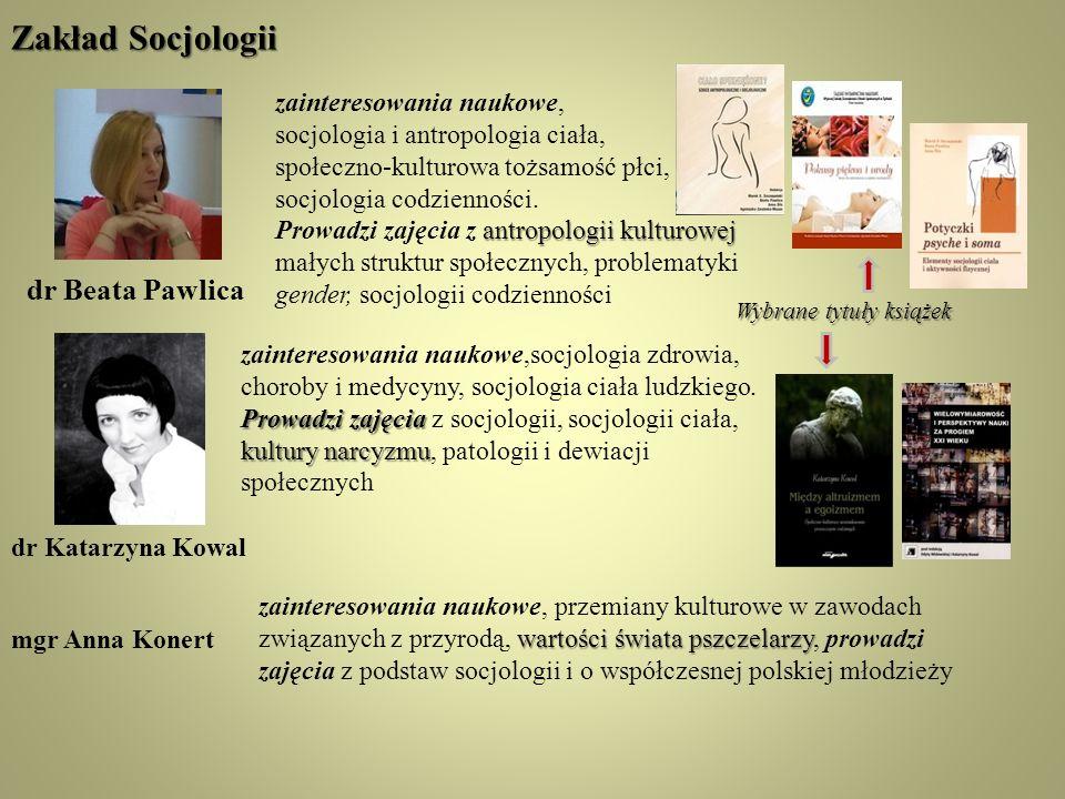 Zakład Socjologii dr Beata Pawlica zainteresowania naukowe,