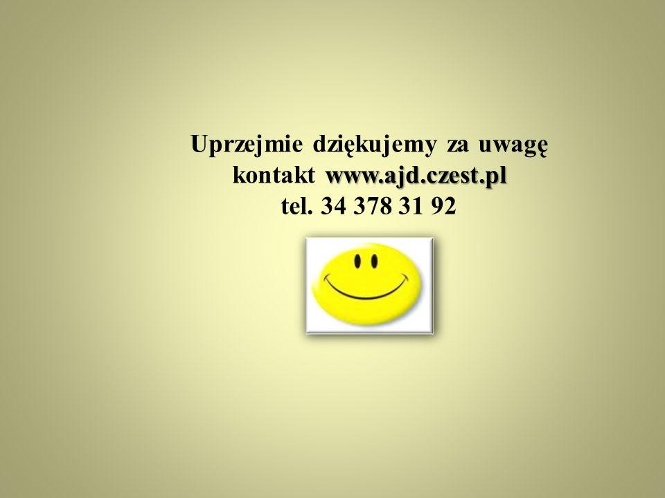 Uprzejmie dziękujemy za uwagę kontakt www.ajd.czest.pl
