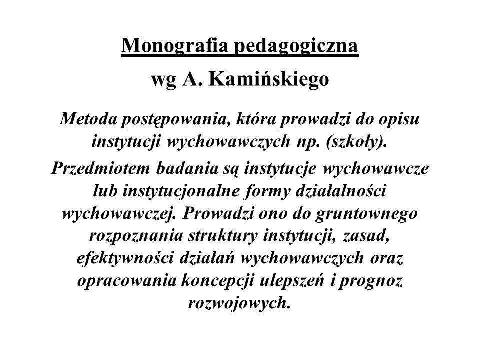 Monografia pedagogiczna wg A. Kamińskiego