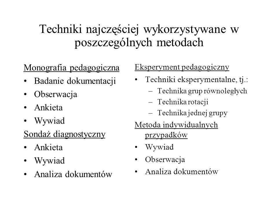Techniki najczęściej wykorzystywane w poszczególnych metodach