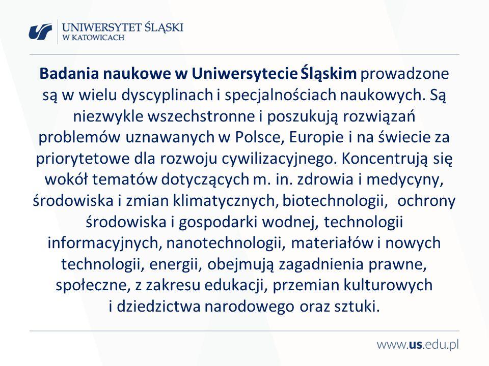 Badania naukowe w Uniwersytecie Śląskim prowadzone są w wielu dyscyplinach i specjalnościach naukowych.