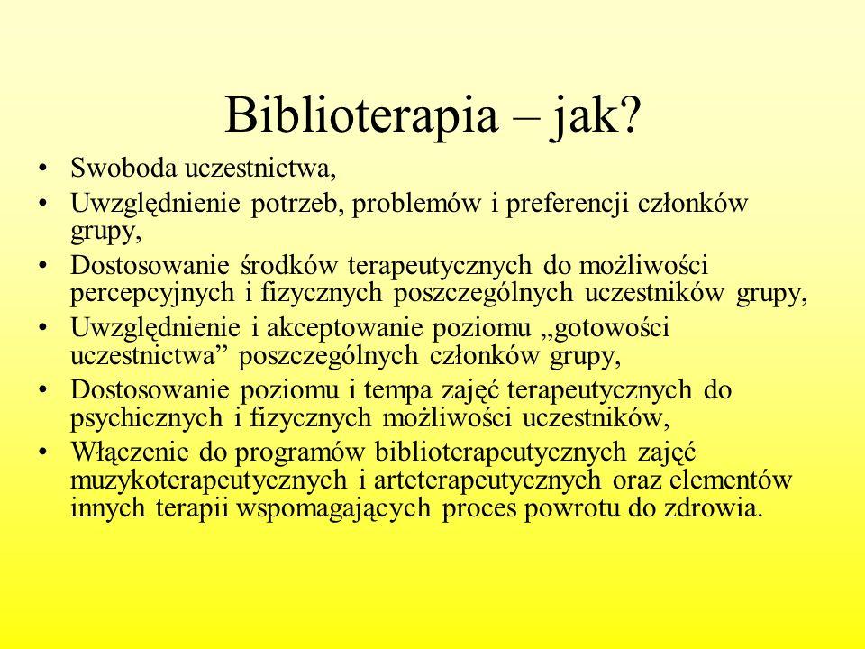 Biblioterapia – jak Swoboda uczestnictwa,