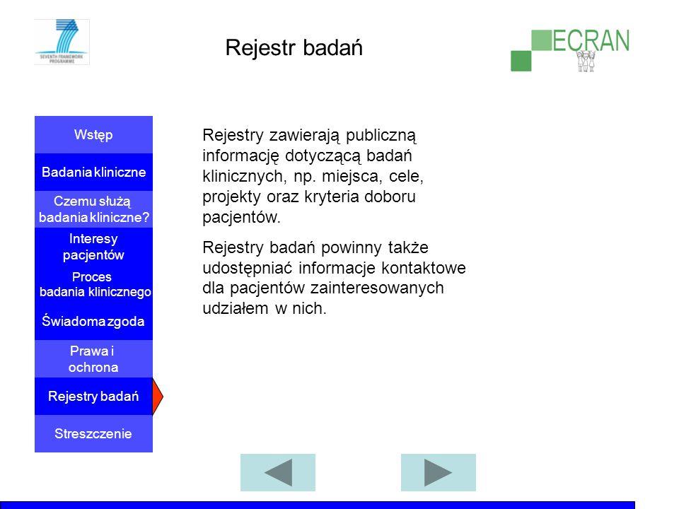 Rejestr badań Rejestry zawierają publiczną informację dotyczącą badań klinicznych, np. miejsca, cele, projekty oraz kryteria doboru pacjentów.