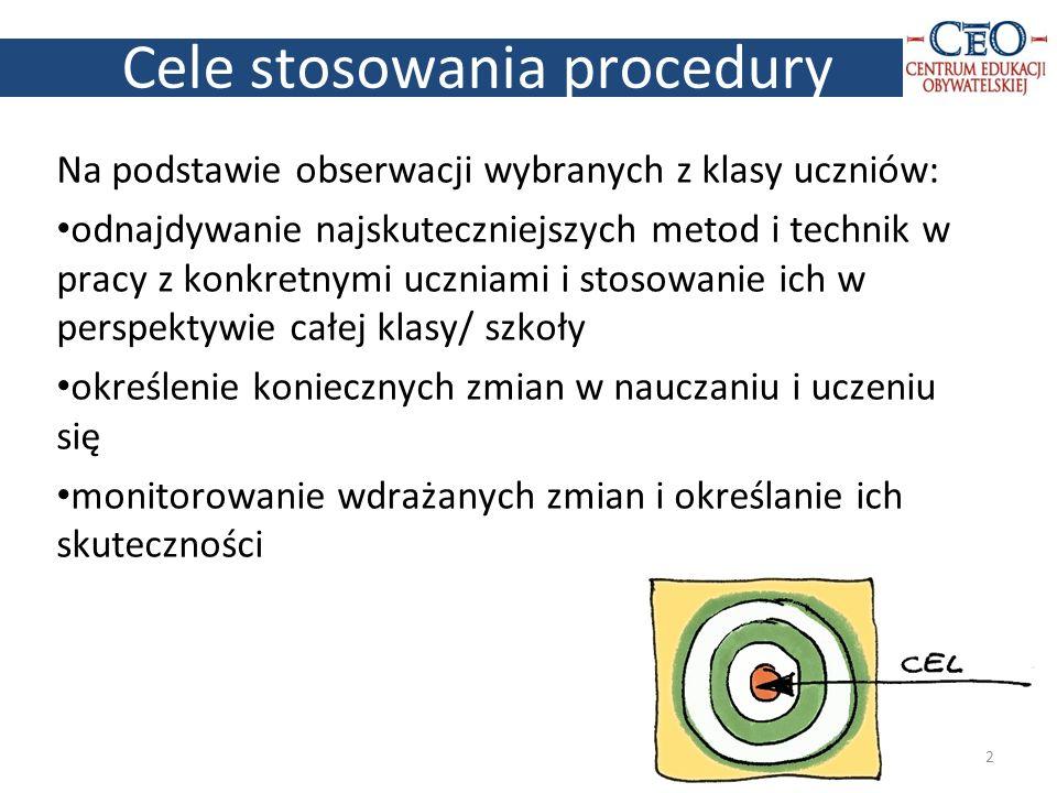 Cele stosowania procedury