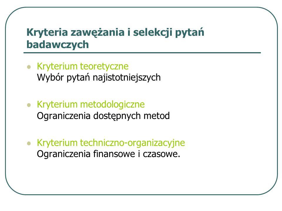 Kryteria zawężania i selekcji pytań badawczych