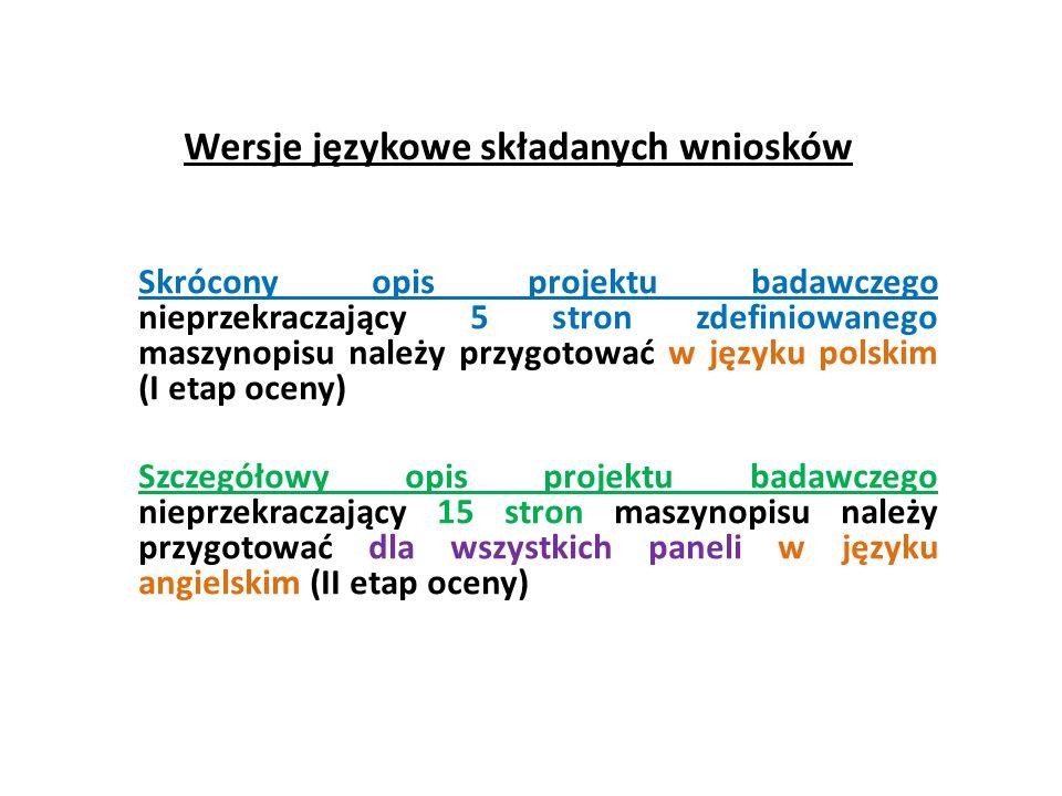 Wersje językowe składanych wniosków