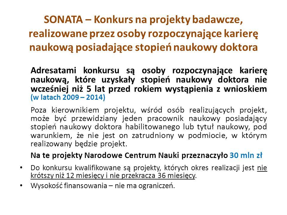 SONATA – Konkurs na projekty badawcze, realizowane przez osoby rozpoczynające karierę naukową posiadające stopień naukowy doktora