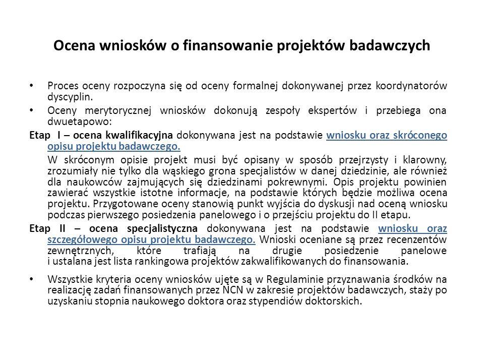 Ocena wniosków o finansowanie projektów badawczych