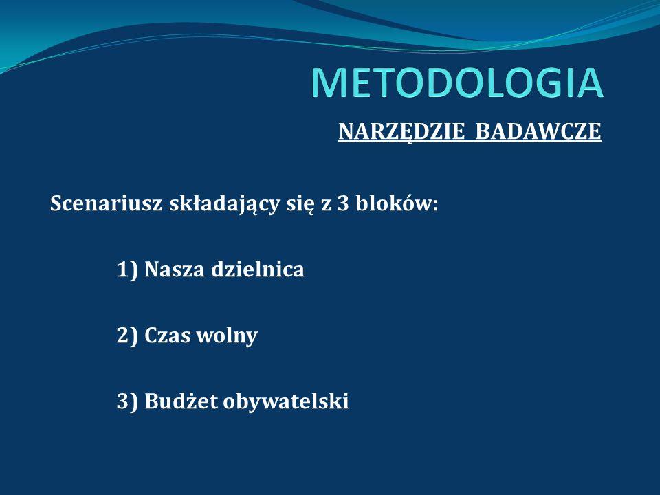 METODOLOGIA NARZĘDZIE BADAWCZE Scenariusz składający się z 3 bloków: