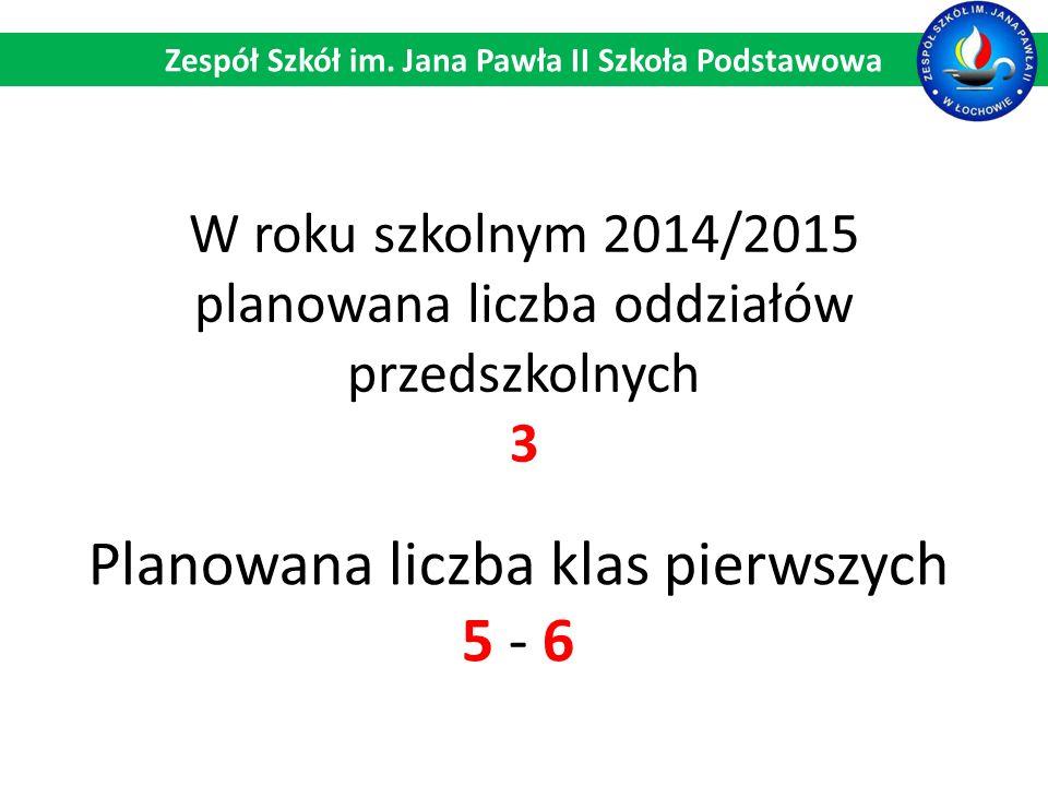 W roku szkolnym 2014/2015 planowana liczba oddziałów przedszkolnych 3