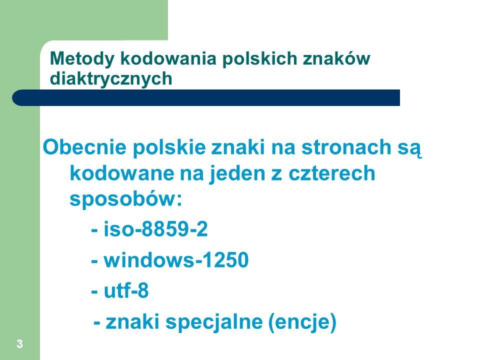 Metody kodowania polskich znaków diaktrycznych