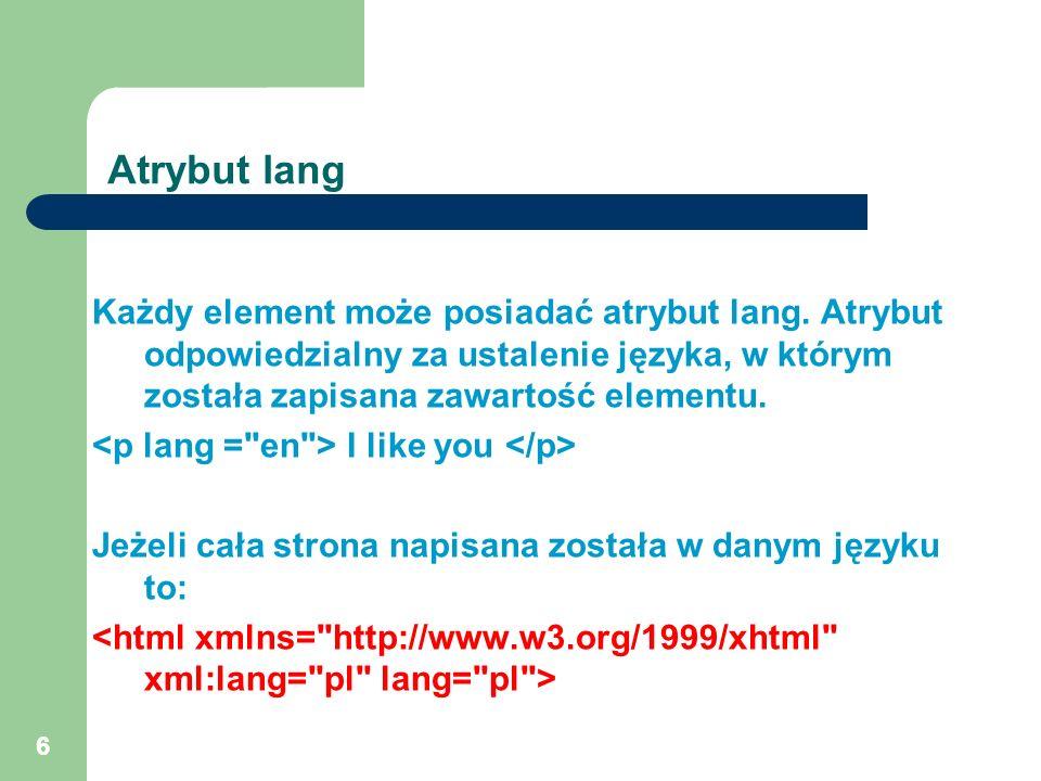 Atrybut lang Każdy element może posiadać atrybut lang. Atrybut odpowiedzialny za ustalenie języka, w którym została zapisana zawartość elementu.