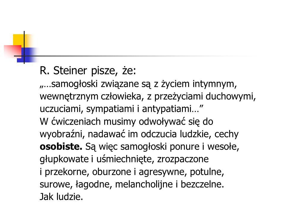 """R. Steiner pisze, że: """"…samogłoski związane są z życiem intymnym,"""