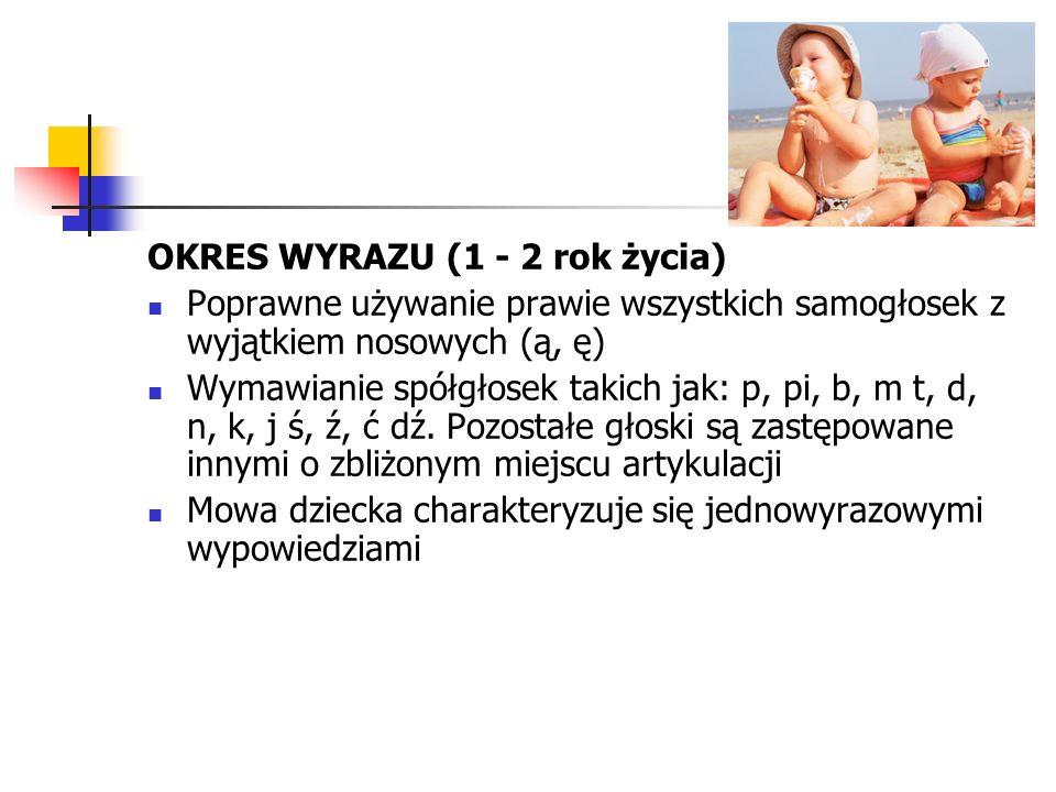 OKRES WYRAZU (1 - 2 rok życia)