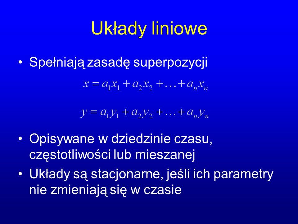 Układy liniowe Spełniają zasadę superpozycji
