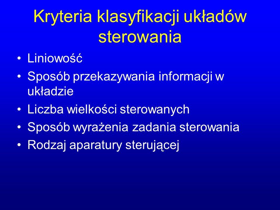 Kryteria klasyfikacji układów sterowania