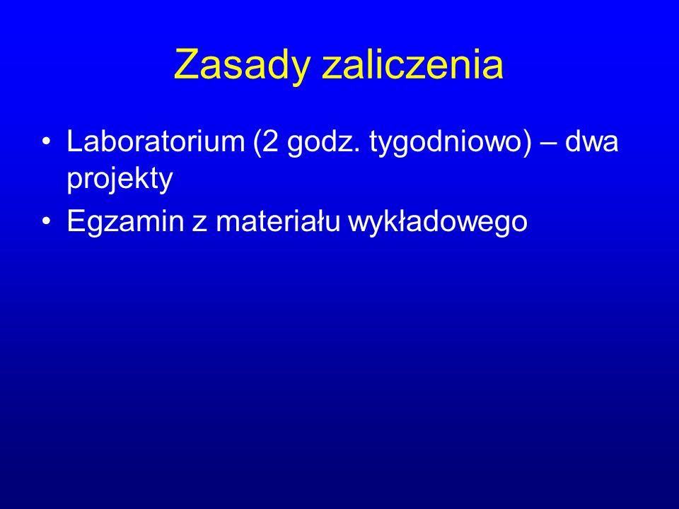 Zasady zaliczenia Laboratorium (2 godz. tygodniowo) – dwa projekty