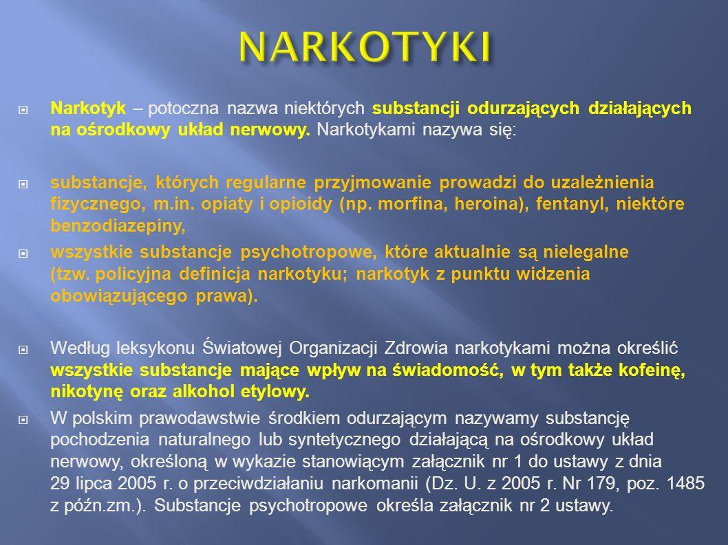 NARKOTYKI Narkotyk – potoczna nazwa niektórych substancji odurzających działających na ośrodkowy układ nerwowy. Narkotykami nazywa się: