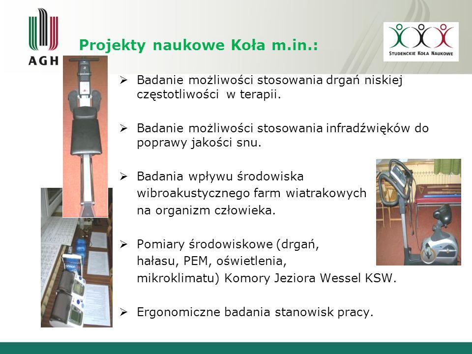 Projekty naukowe Koła m.in.: