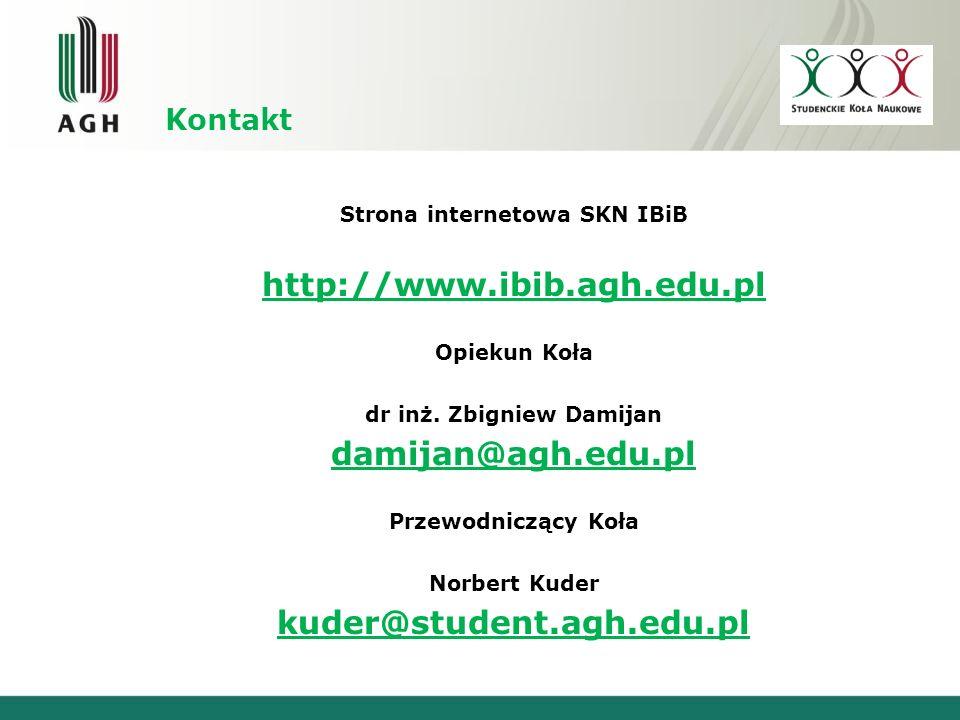Strona internetowa SKN IBiB dr inż. Zbigniew Damijan