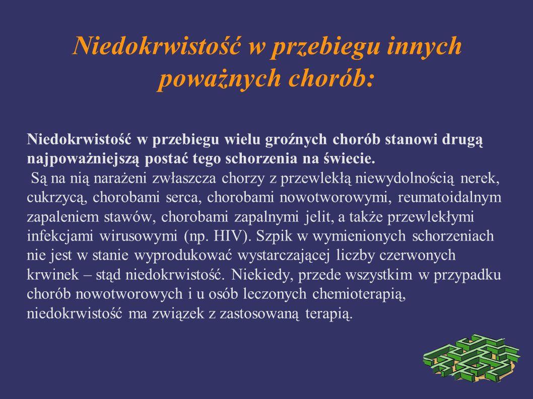 Niedokrwistość w przebiegu innych poważnych chorób: